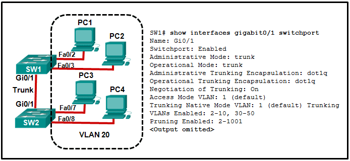 CCNA2 v7 SRWE - Modules 1 - 4: Switching Concepts, VLANs, and InterVLAN Routing Exam Answers 07
